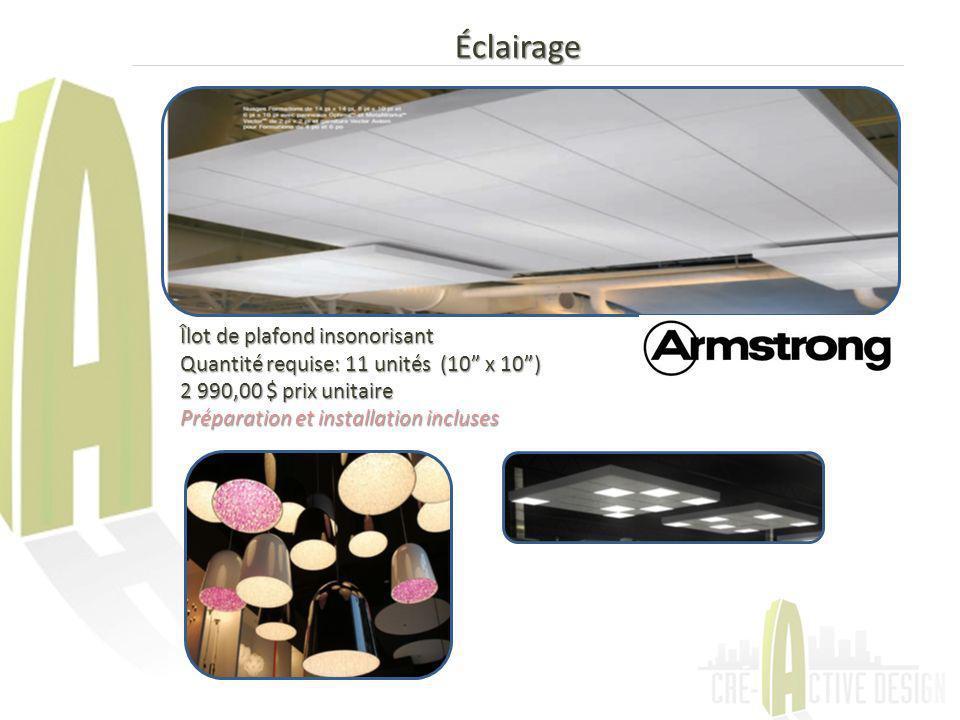 Éclairage Îlot de plafond insonorisant Quantité requise: 11 unités (10 x 10) 2 990,00 $ prix unitaire Préparation et installation incluses