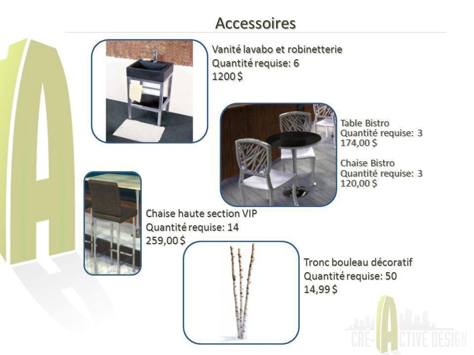 Accessoires Vanité lavabo et robinetterie Quantité requise: 6 1200 $ Table Bistro Quantité requise: 3 174,00 $ Chaise Bistro Quantité requise: 3 120,0