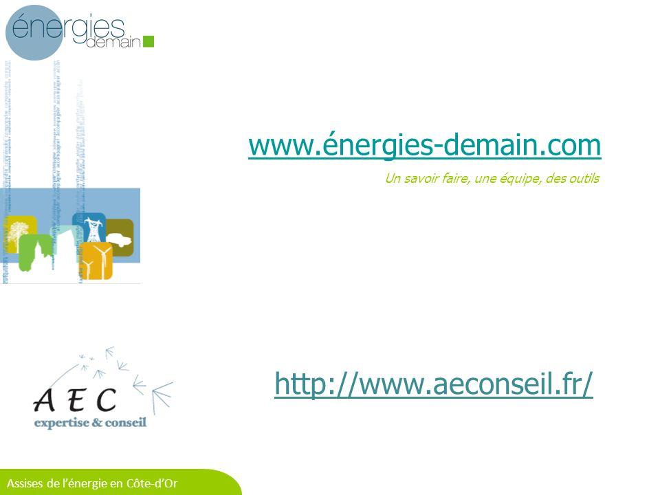 Equipe opérationnelle n°1 - 16/06/2011 Assises de lénergie en Côte-dOr www.énergies-demain.com Un savoir faire, une équipe, des outils http://www.aeconseil.fr/