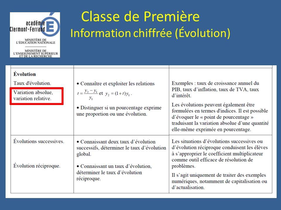 Classe de Première Information chiffrée (Évolution)