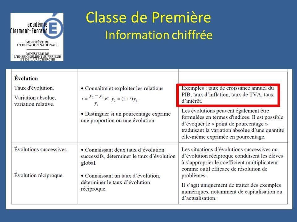 Classe de Première Information chiffrée