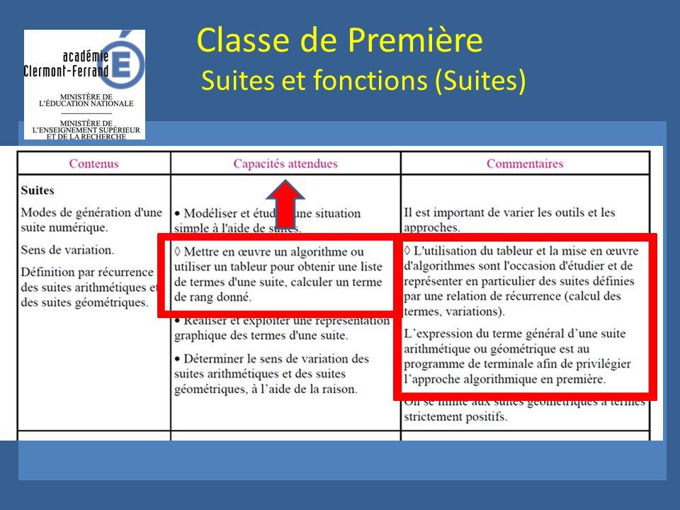 Classe de Première Suites et fonctions (Suites)