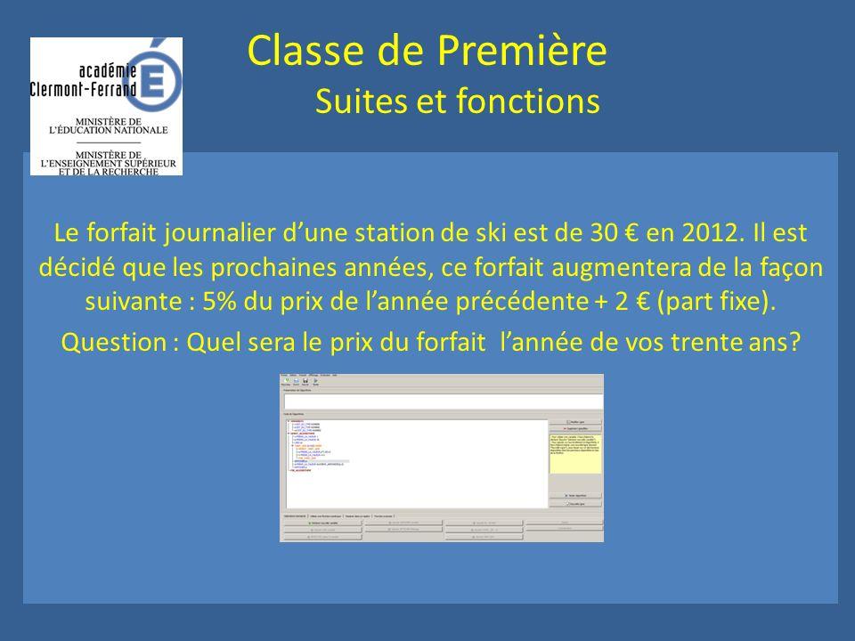 Classe de Première Suites et fonctions Le forfait journalier dune station de ski est de 30 en 2012.