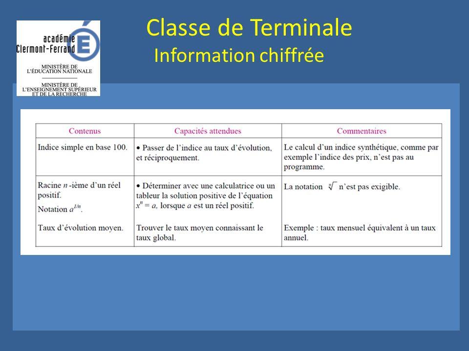 Classe de Terminale Information chiffrée