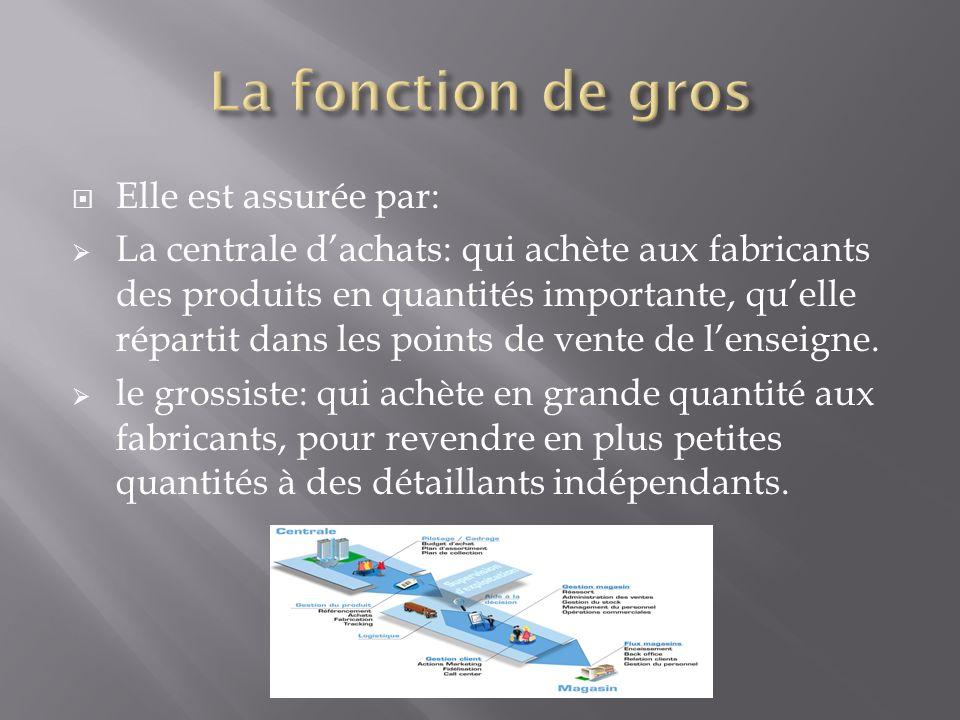 Elle est assurée par: La centrale dachats: qui achète aux fabricants des produits en quantités importante, quelle répartit dans les points de vente de