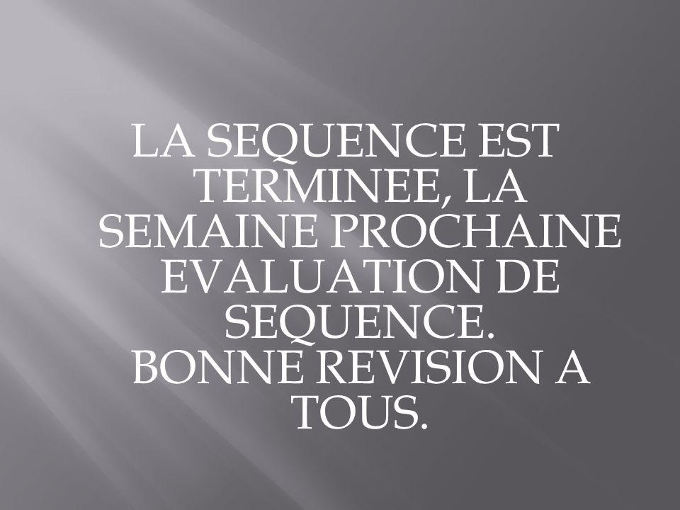 LA SEQUENCE EST TERMINEE, LA SEMAINE PROCHAINE EVALUATION DE SEQUENCE. BONNE REVISION A TOUS.