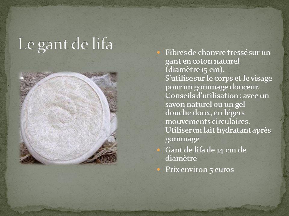 Fibres de chanvre tressé sur un gant en coton naturel (diamètre 15 cm). S'utilise sur le corps et le visage pour un gommage douceur. Conseils d'utilis