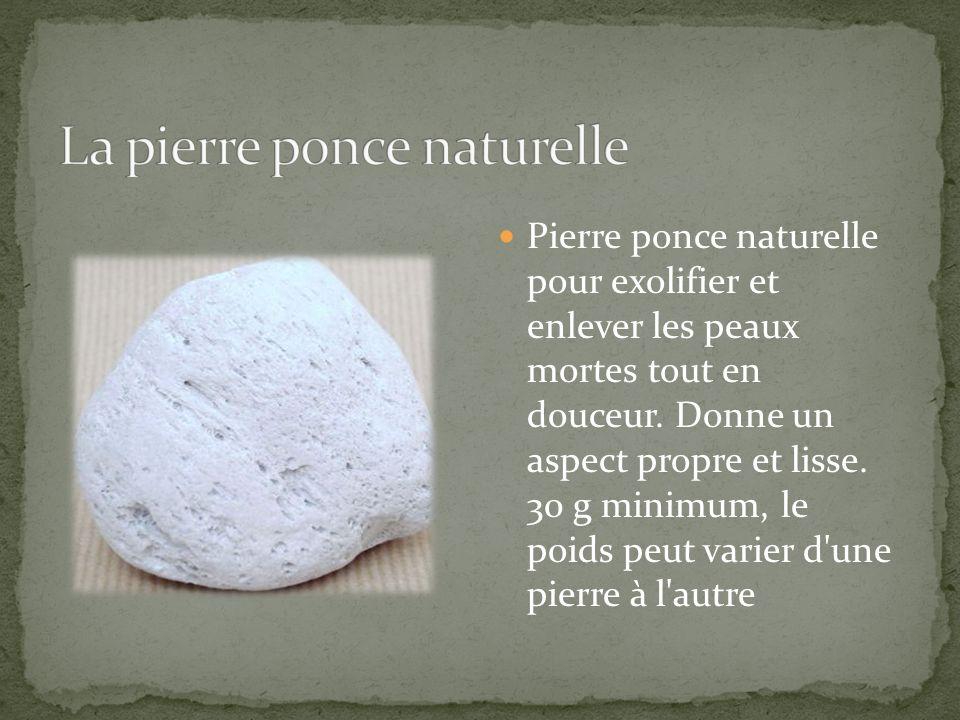 Pierre ponce naturelle pour exolifier et enlever les peaux mortes tout en douceur. Donne un aspect propre et lisse. 30 g minimum, le poids peut varier