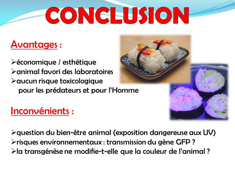 Avantages : économique / esthétique animal favori des laboratoires aucun risque toxicologique pour les prédateurs et pour lHomme Inconvénients : quest