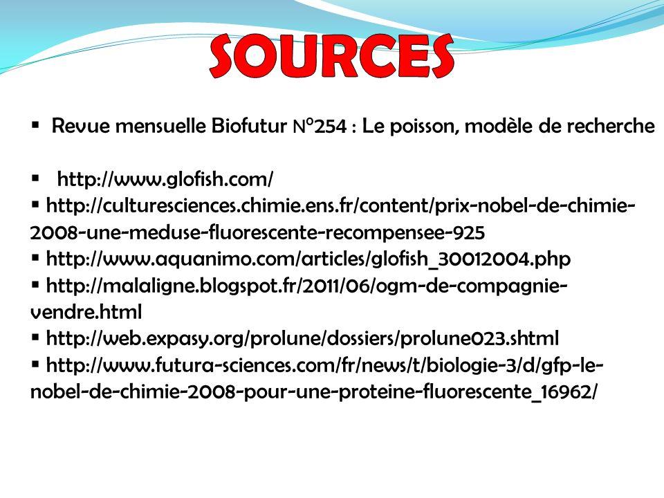 Revue mensuelle Biofutur N °254 : Le poisson, modèle de recherche http://www.glofish.com/ http://culturesciences.chimie.ens.fr/content/prix-nobel-de-c