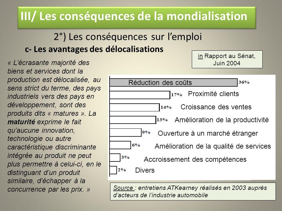 III/ Les conséquences de la mondialisation III/ Les conséquences de la mondialisation 2°) Les conséquences sur lemploi c- Les avantages des délocalisa
