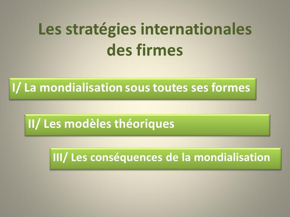 Les stratégies internationales des firmes II/ Les modèles théoriques III/ Les conséquences de la mondialisation I/ La mondialisation sous toutes ses f