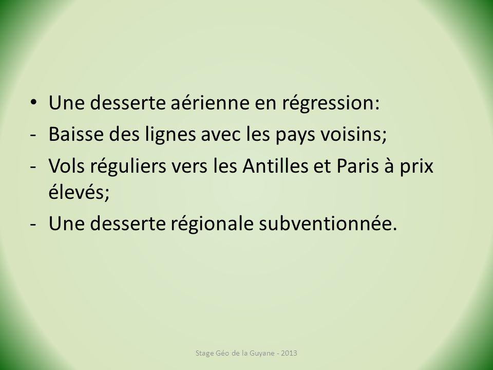 Une desserte aérienne en régression: -Baisse des lignes avec les pays voisins; -Vols réguliers vers les Antilles et Paris à prix élevés; -Une desserte régionale subventionnée.