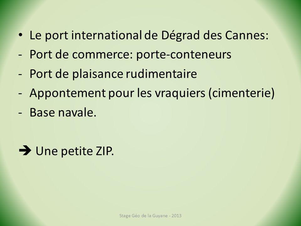 Le port international de Dégrad des Cannes: -Port de commerce: porte-conteneurs -Port de plaisance rudimentaire -Appontement pour les vraquiers (cimenterie) -Base navale.