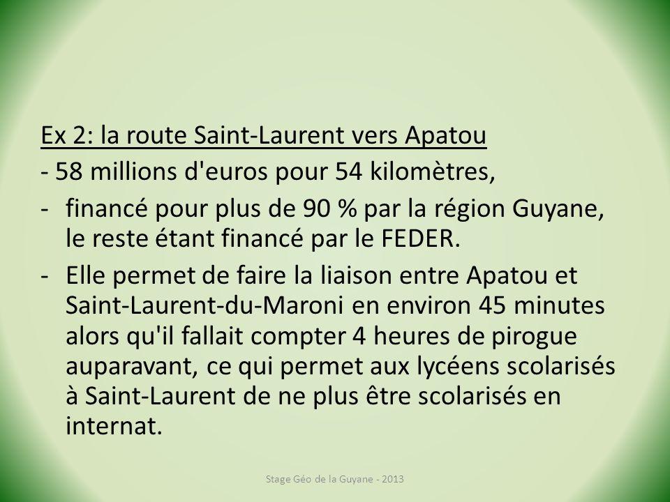 Ex 2: la route Saint-Laurent vers Apatou - 58 millions d euros pour 54 kilomètres, -financé pour plus de 90 % par la région Guyane, le reste étant financé par le FEDER.