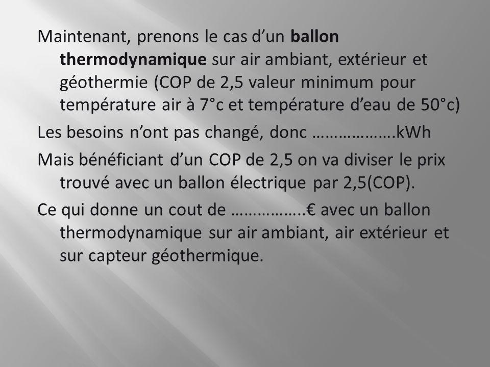 Maintenant, prenons le cas dun ballon thermodynamique sur air ambiant, extérieur et géothermie (COP de 2,5 valeur minimum pour température air à 7°c e