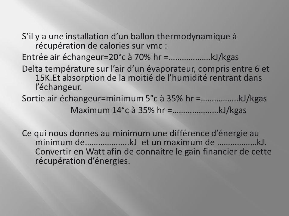 Sil y a une installation dun ballon thermodynamique à récupération de calories sur vmc : Entrée air échangeur=20°c à 70% hr =……………….kJ/kgas Delta temp