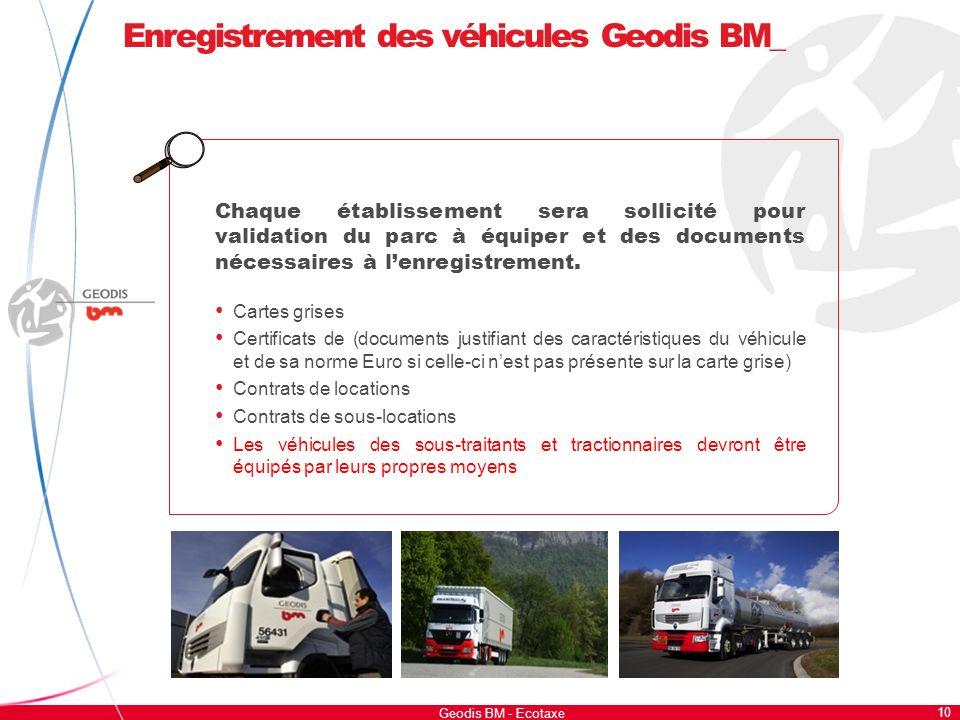 Enregistrement des véhicules Geodis BM_ 10 Geodis BM - Ecotaxe Chaque établissement sera sollicité pour validation du parc à équiper et des documents