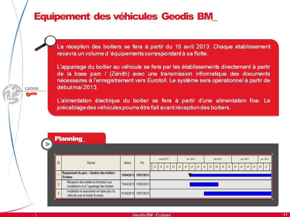 11 Geodis BM - Ecotaxe Equipement des véhicules Geodis BM_ La réception des boitiers se fera à partir du 15 avril 2013. Chaque établissement recevra u