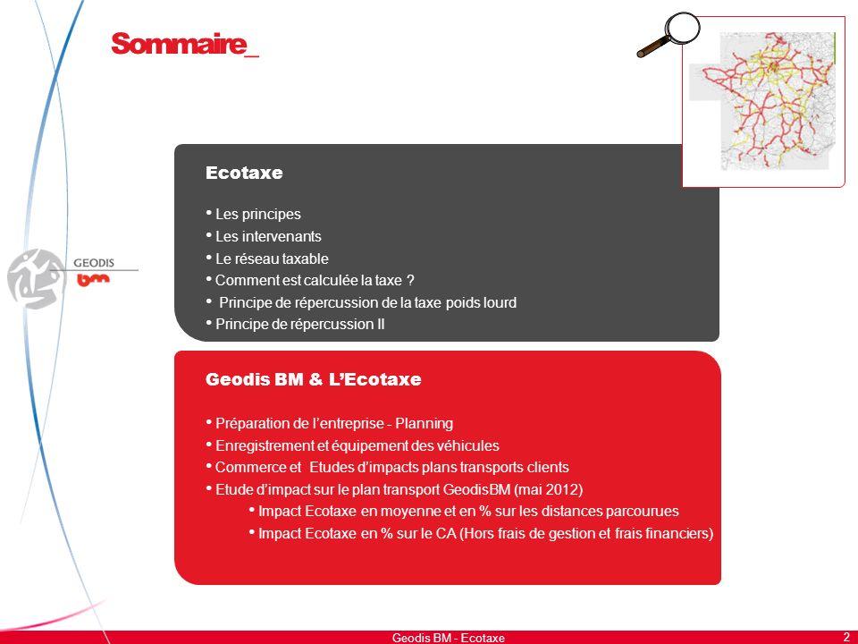 Sommaire_ 2 Ecotaxe Les principes Les intervenants Le réseau taxable Comment est calculée la taxe ? Principe de répercussion de la taxe poids lourd Pr