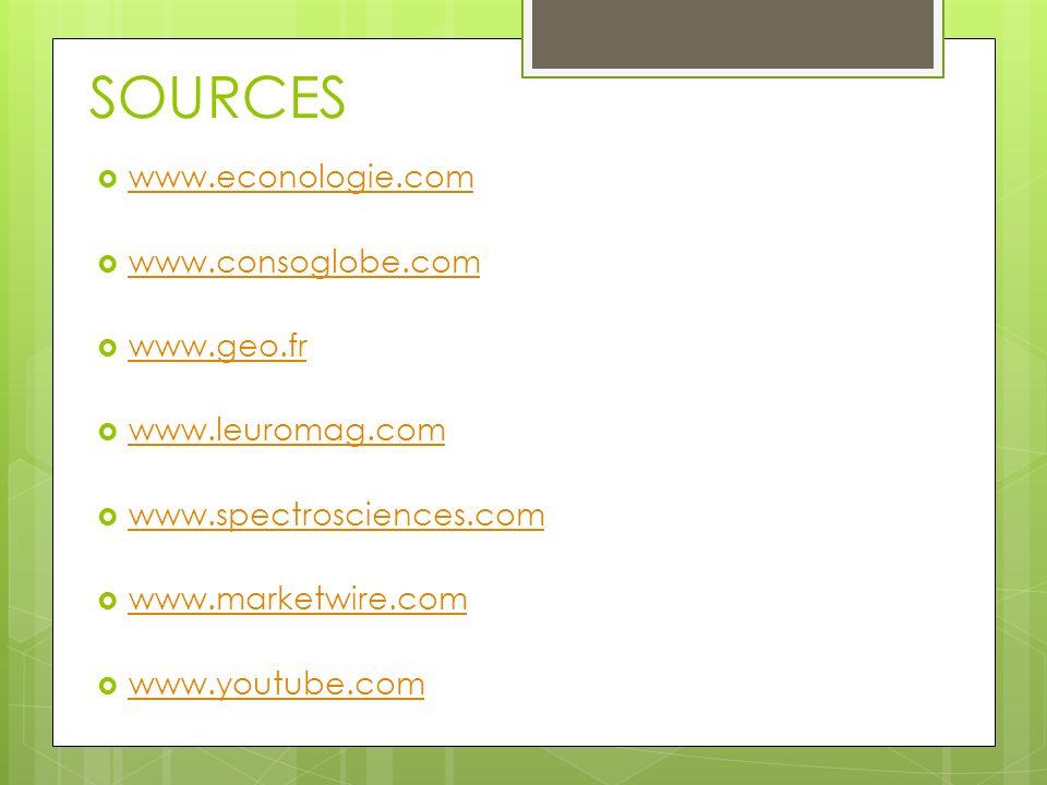 SOURCES www.econologie.com www.consoglobe.com www.geo.fr www.leuromag.com www.spectrosciences.com www.marketwire.com www.youtube.com