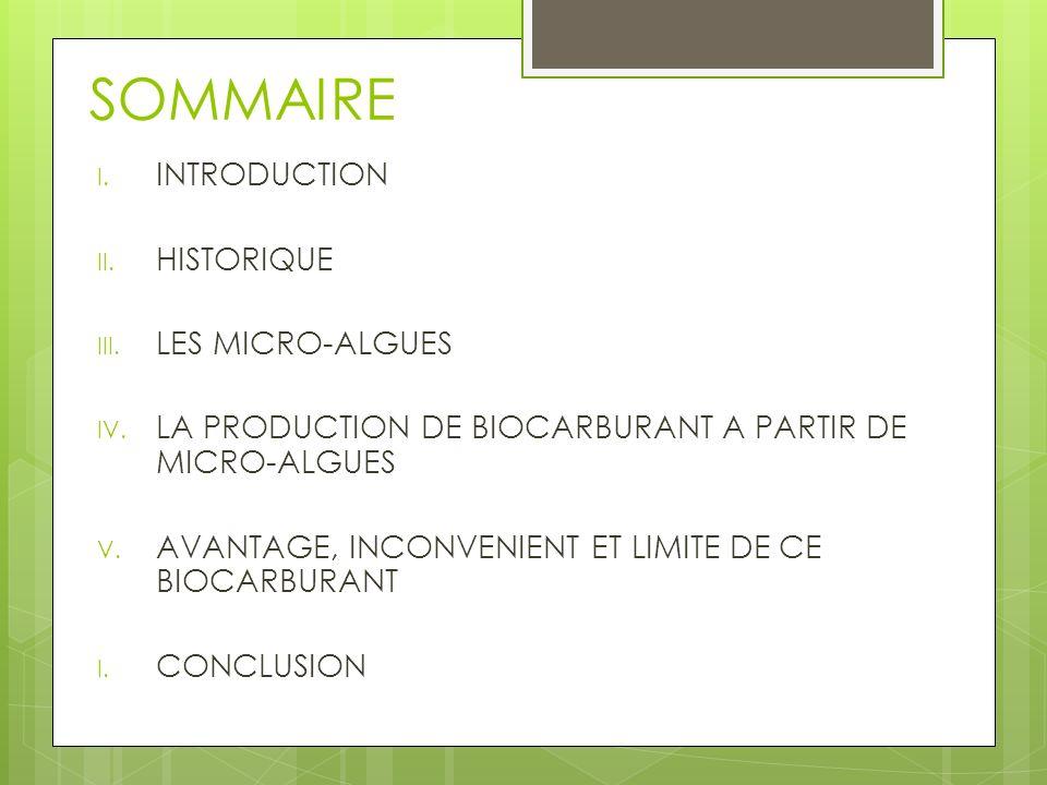 SOMMAIRE I. INTRODUCTION II. HISTORIQUE III. LES MICRO-ALGUES IV. LA PRODUCTION DE BIOCARBURANT A PARTIR DE MICRO-ALGUES V. AVANTAGE, INCONVENIENT ET