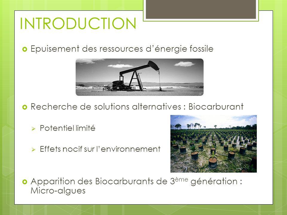 INTRODUCTION Epuisement des ressources dénergie fossile Recherche de solutions alternatives : Biocarburant Potentiel limité Effets nocif sur lenvironn