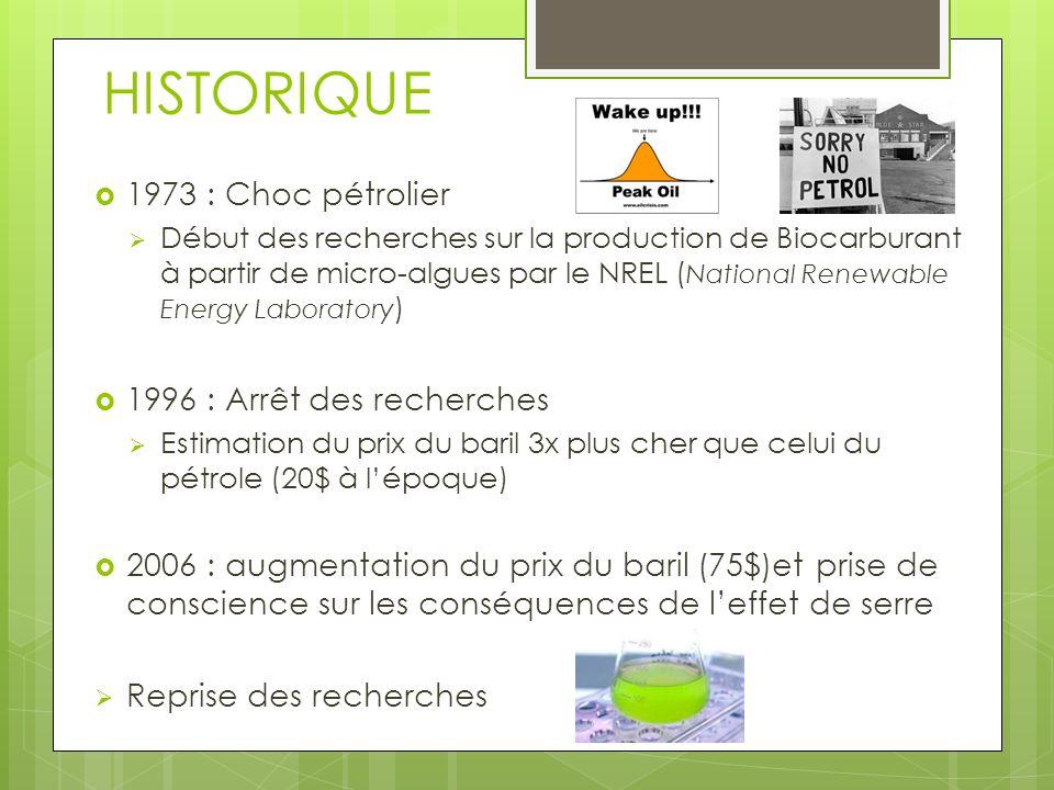 HISTORIQUE 1973 : Choc pétrolier Début des recherches sur la production de Biocarburant à partir de micro-algues par le NREL ( National Renewable Ener