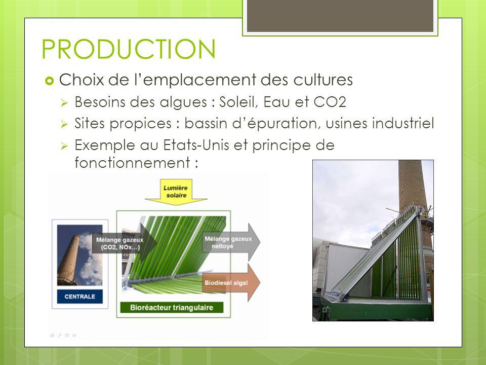 PRODUCTION Choix de lemplacement des cultures Besoins des algues : Soleil, Eau et CO2 Sites propices : bassin dépuration, usines industriel Exemple au