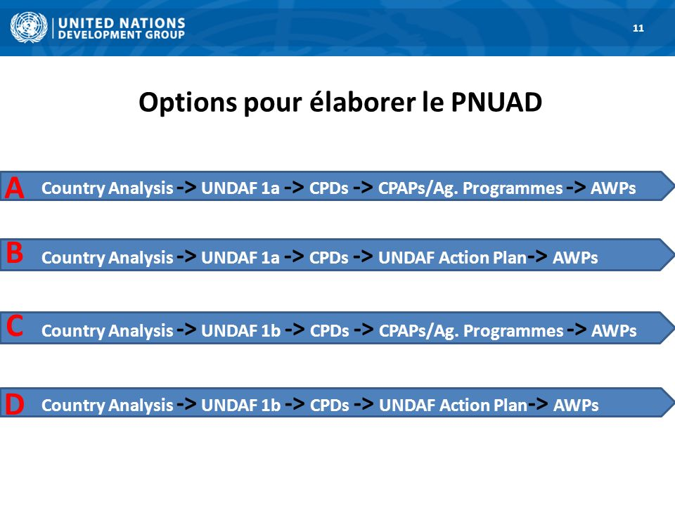 Options pour élaborer le PNUAD 1. Road Map 11 Country Analysis -> UNDAF 1a -> CPDs -> CPAPs/Ag.