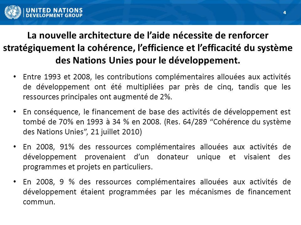 La nouvelle architecture de laide nécessite de renforcer stratégiquement la cohérence, lefficience et lefficacité du système des Nations Unies pour le développement.