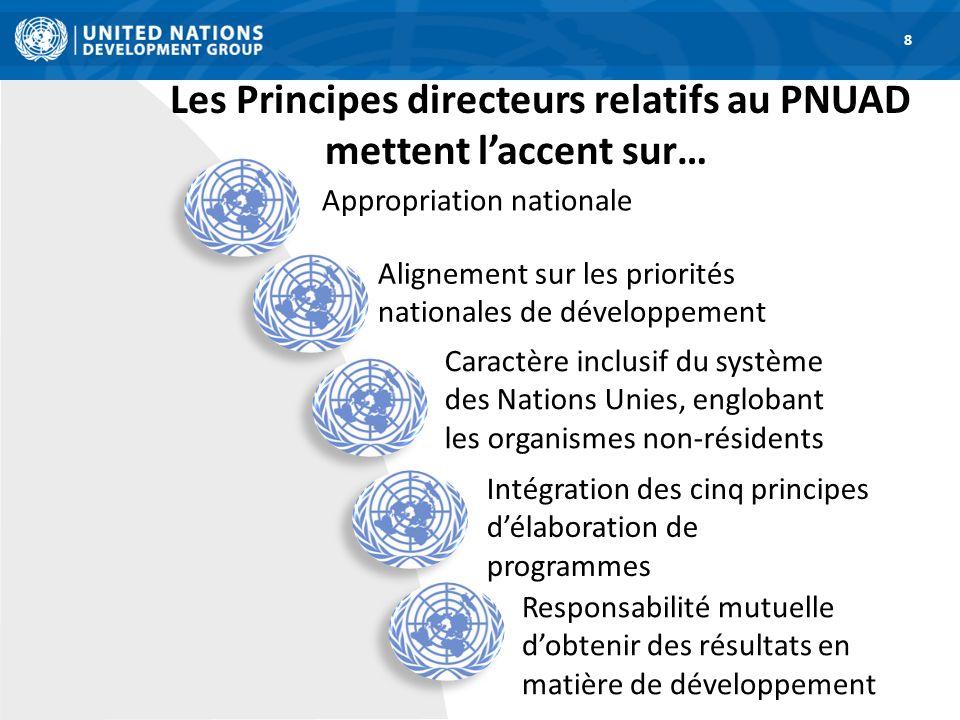 Les Principes directeurs relatifs au PNUAD mettent laccent sur… 8 Appropriation nationale Alignement sur les priorités nationales de développement Car