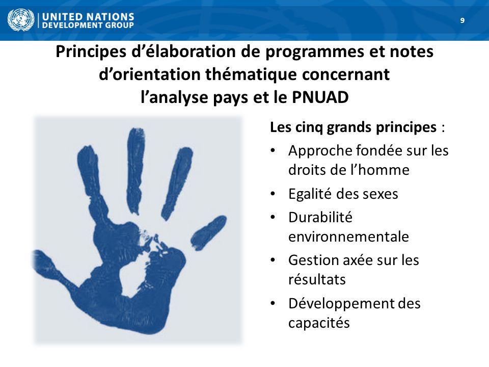 Principes délaboration de programmes et notes dorientation thématique concernant lanalyse pays et le PNUAD 9 Les cinq grands principes : Approche fond