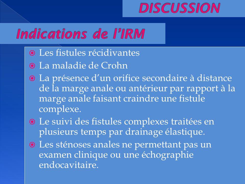 Les fistules récidivantes La maladie de Crohn La présence dun orifice secondaire à distance de la marge anale ou antérieur par rapport à la marge anal
