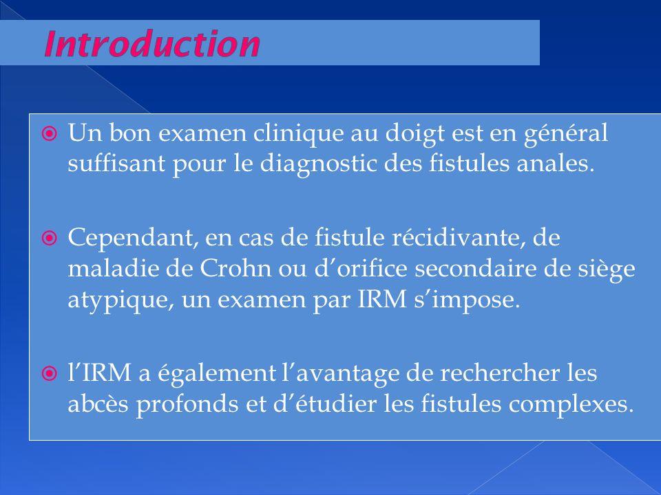 Un bon examen clinique au doigt est en général suffisant pour le diagnostic des fistules anales. Cependant, en cas de fistule récidivante, de maladie