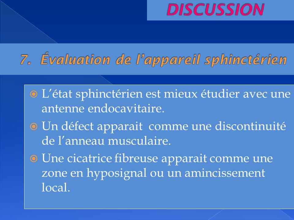 Létat sphinctérien est mieux étudier avec une antenne endocavitaire. Un défect apparait comme une discontinuité de lanneau musculaire. Une cicatrice f