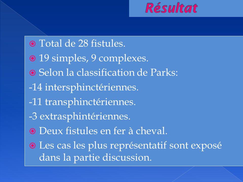Total de 28 fistules. 19 simples, 9 complexes. Selon la classification de Parks: -14 intersphinctériennes. -11 transphinctériennes. -3 extrasphintérie