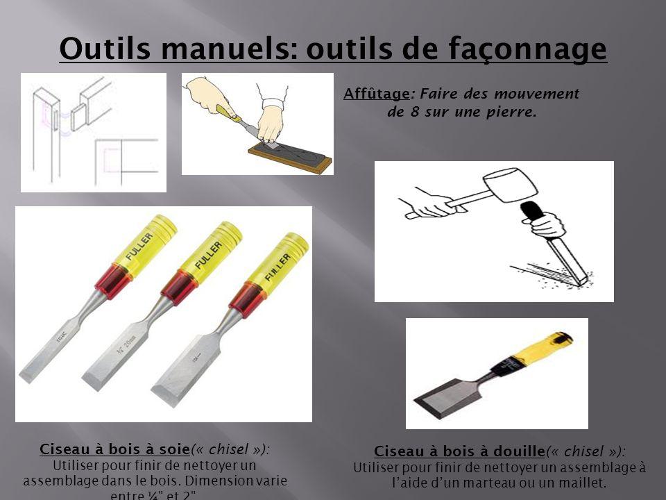 Outils manuels: outils de façonnage Ciseau à bois à soie(« chisel »): Utiliser pour finir de nettoyer un assemblage dans le bois. Dimension varie entr
