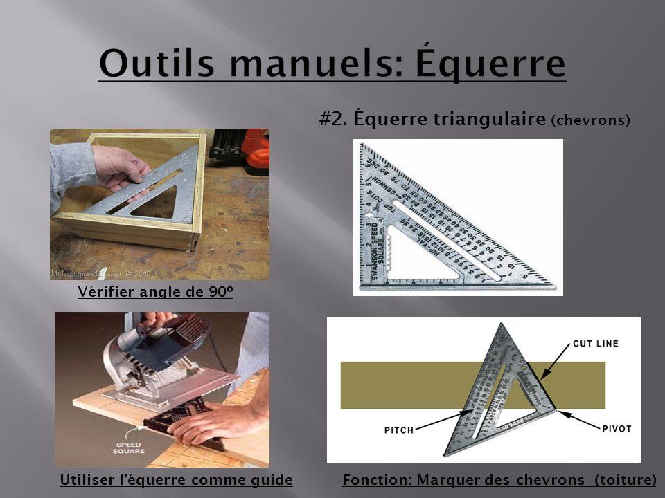 #2. Équerre triangulaire (chevrons) Fonction: Marquer des chevrons (toiture)Utiliser léquerre comme guide Vérifier angle de 90º