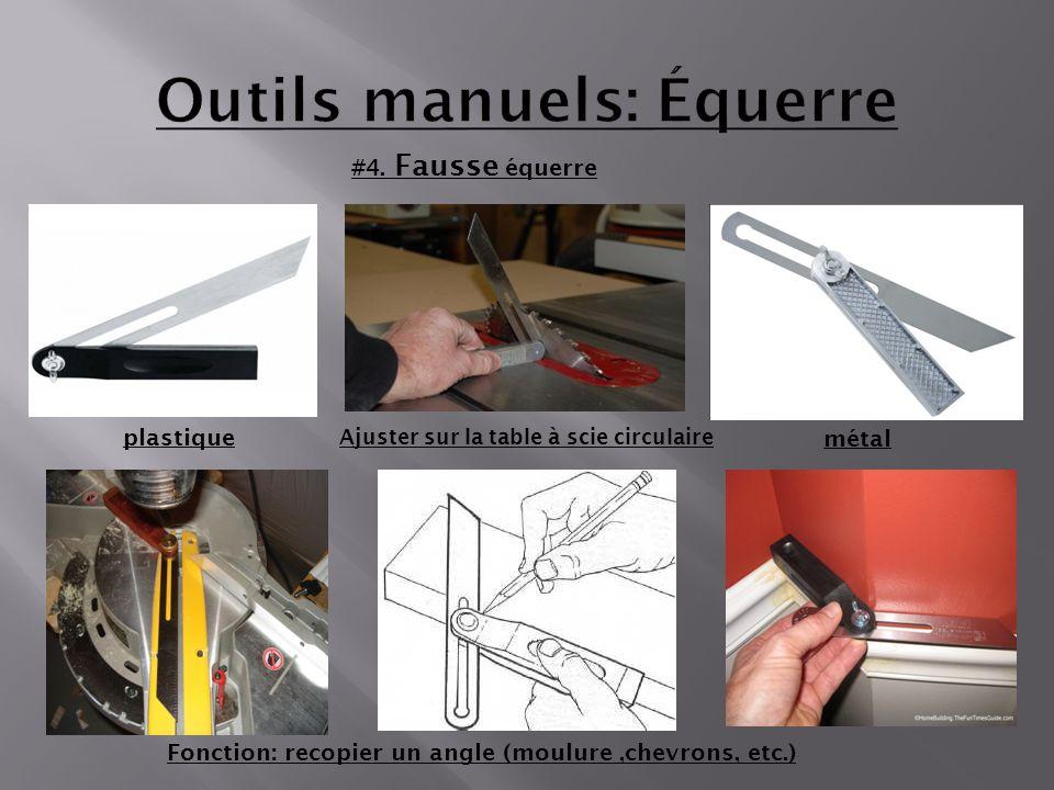 #4. Fausse équerre Fonction: recopier un angle (moulure,chevrons, etc.) plastique métal Ajuster sur la table à scie circulaire