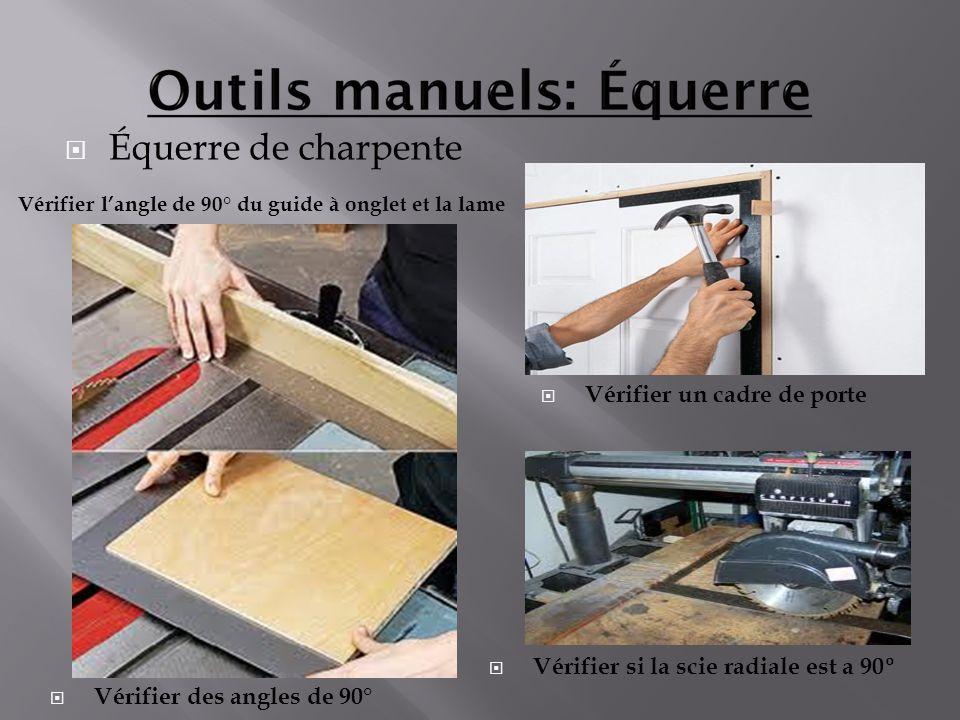 Équerre de charpente Vérifier un cadre de porte Vérifier des angles de 90° Vérifier langle de 90° du guide à onglet et la lame Vérifier si la scie rad