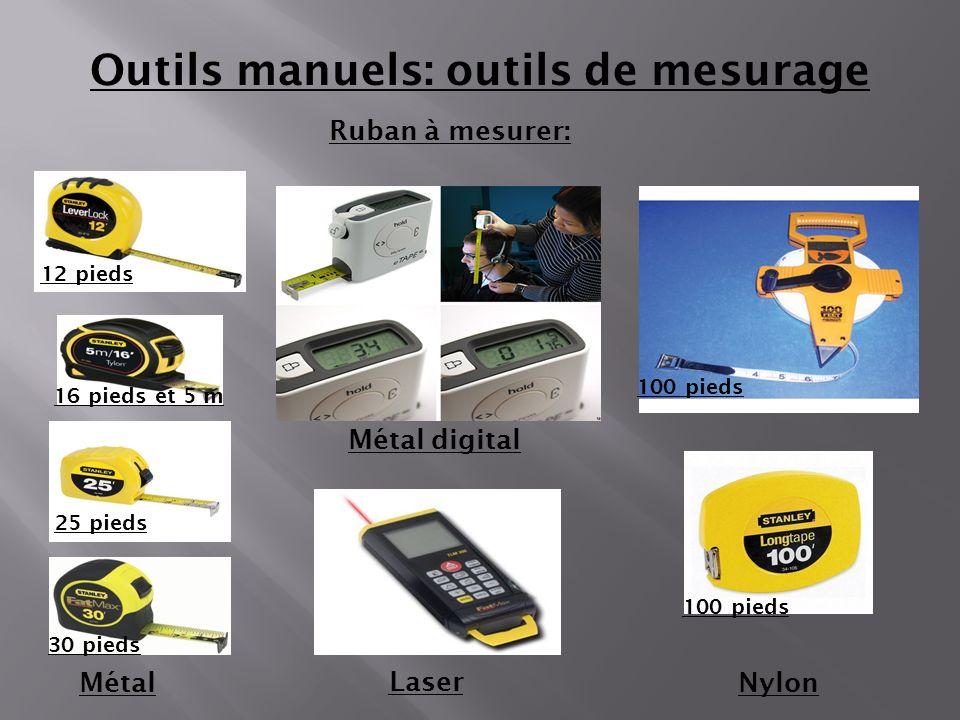 Ruban à mesurer: MétalNylon Outils manuels: outils de mesurage Métal digital 12 pieds 25 pieds 30 pieds 16 pieds et 5 m 100 pieds Laser