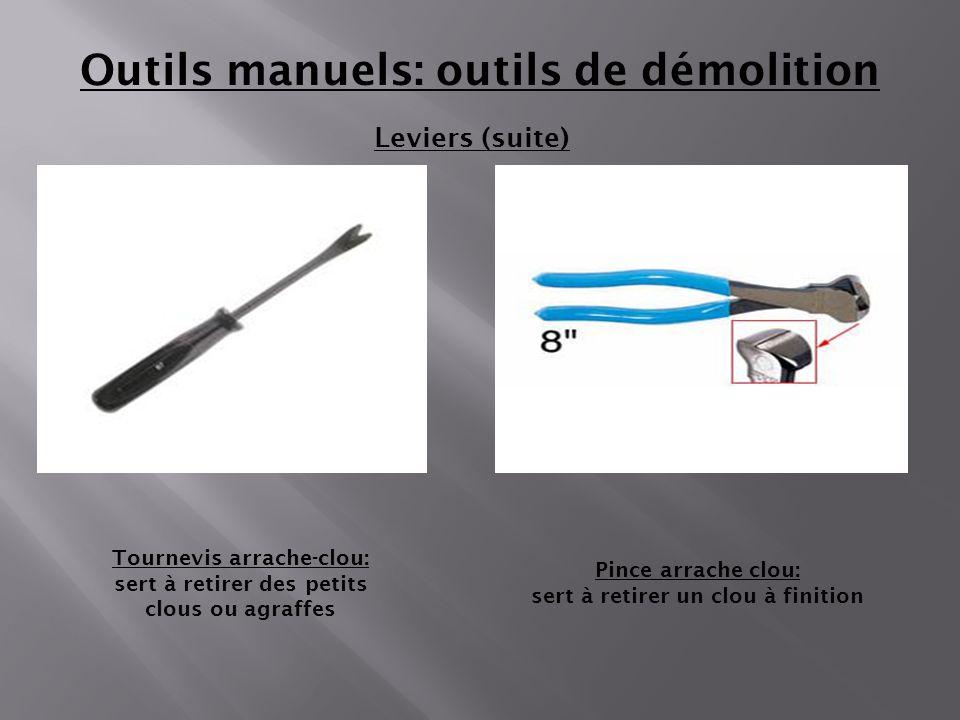 Leviers (suite) Outils manuels: outils de démolition Pince arrache clou: sert à retirer un clou à finition Tournevis arrache-clou: sert à retirer des