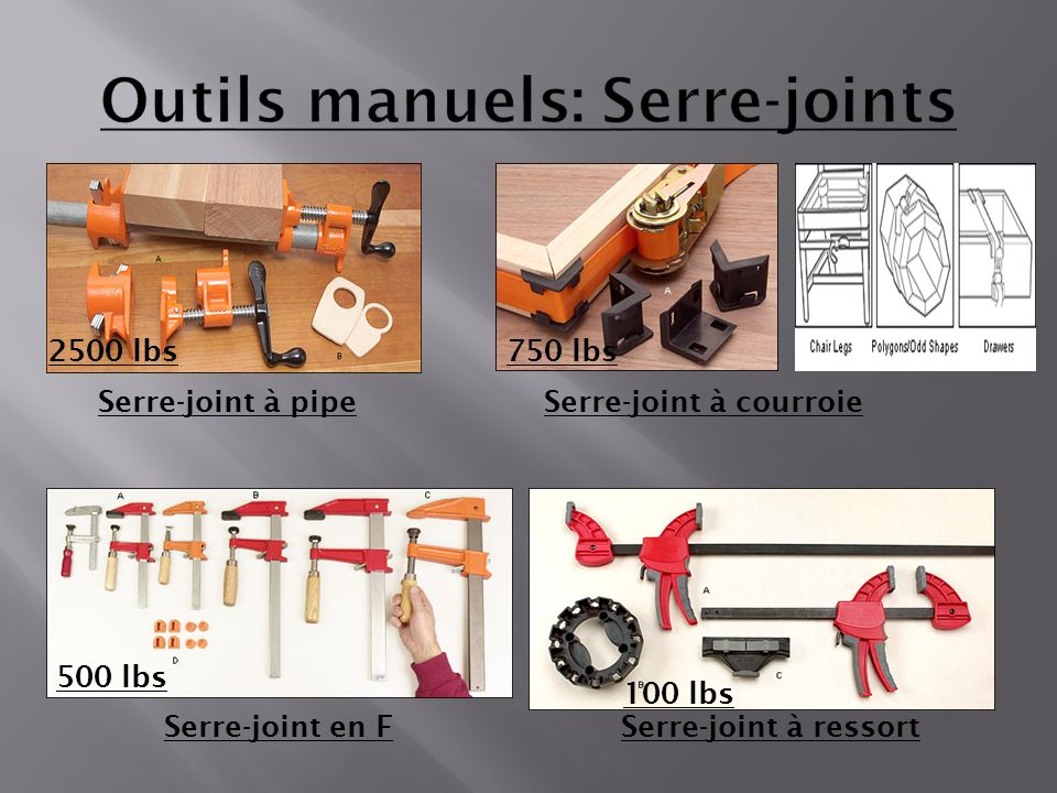 Serre-joint à pipeSerre-joint à courroie Serre-joint en FSerre-joint à ressort 2500 lbs750 lbs 100 lbs 500 lbs