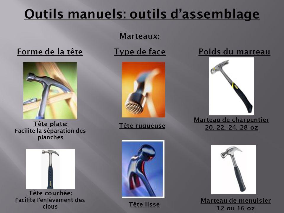 Marteaux: Outils manuels: outils dassemblage Tête rugueuse Forme de la têteType de facePoids du marteau Tête courbée: Facilite lenlèvement des clous T