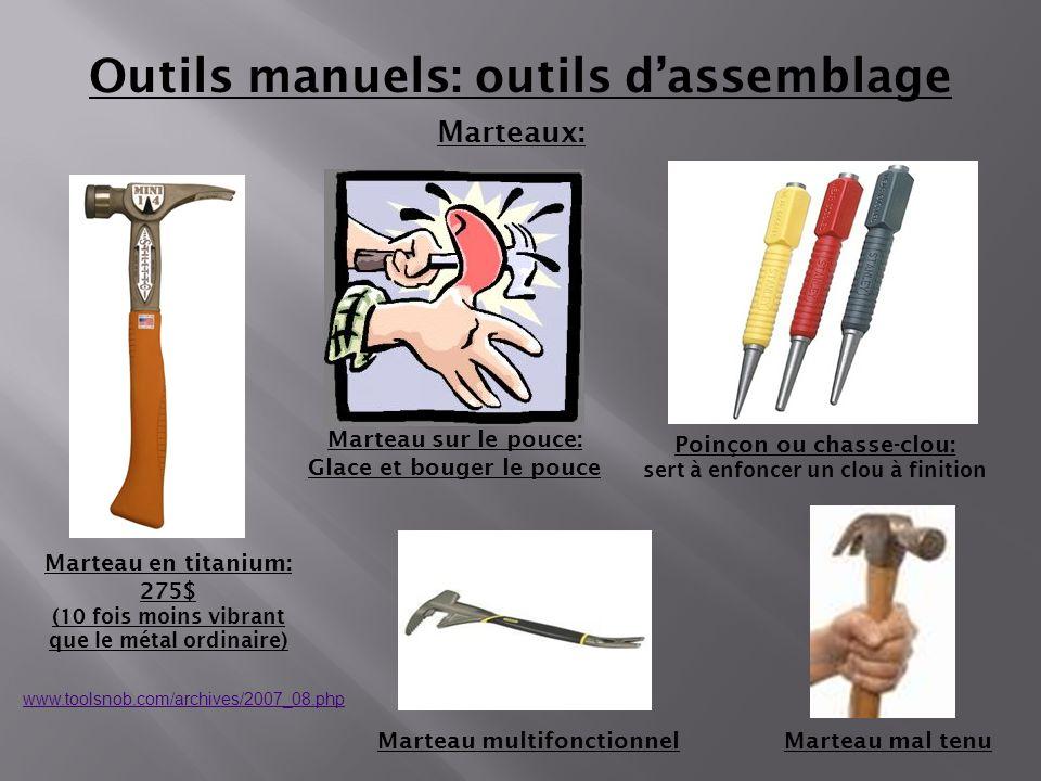 Marteaux: Marteau mal tenu Outils manuels: outils dassemblage Marteau sur le pouce: Glace et bouger le pouce Marteau en titanium: 275$ (10 fois moins