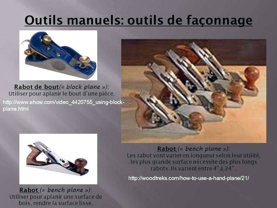 Outils manuels: outils de façonnage Rabot (« bench plane »): Utiliser pour aplanir une surface de bois, rendre la surface lisse. Rabot de bout(« block