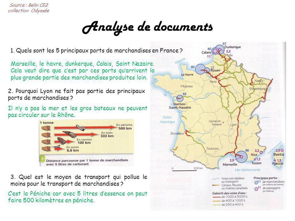 Analyse de documents 1.Quels sont les 5 principaux ports de marchandises en France .