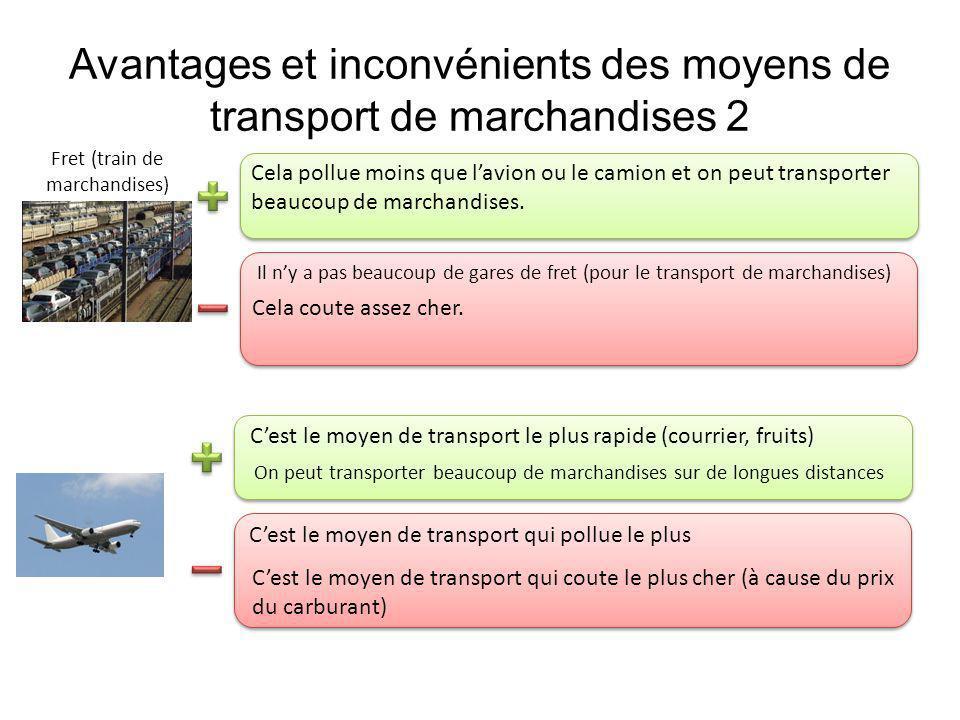 Avantages et inconvénients des moyens de transport de marchandises 2 Cela coute assez cher. Il ny a pas beaucoup de gares de fret (pour le transport d