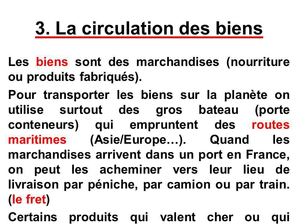 3. La circulation des biens Les biens sont des marchandises (nourriture ou produits fabriqués). Pour transporter les biens sur la planète on utilise s